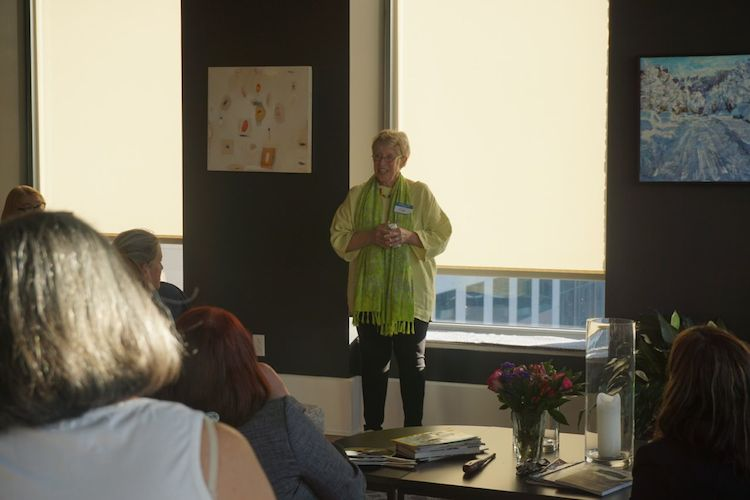 Kate Dewey of The Forbes Funds welcomes the group.  Photo by Tracy Certo