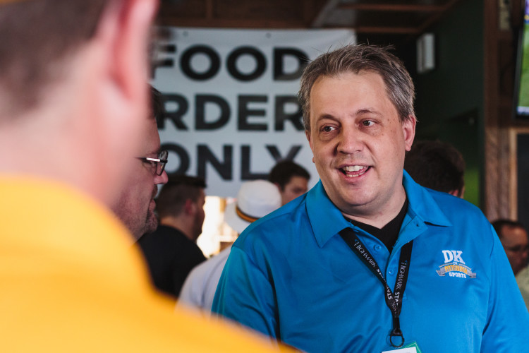 Dejan Kovacevic speaks with fans of his website at the Lunatic Bash on July 18, 2015. Photo by Long Hong.