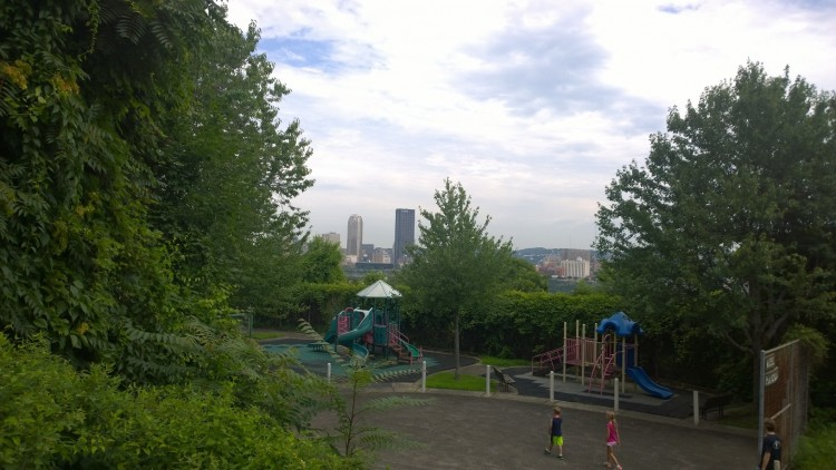 Stunning city views from the steps above Winters Playground on the South Side Slopes. Photo by Mandy Yokim.