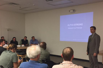 Kesinger presenting AlphaStroke at the TechShop Hardware Cup. Image courtesy of TechShop.