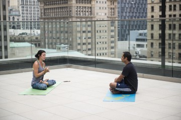 Yoga on the rooftop of Hotel Monaco. Photo by Erica Gidley.