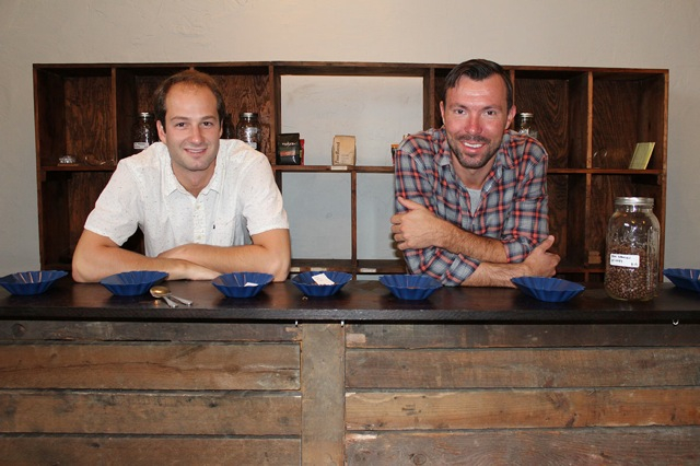 Jeff Sloan, KLVN Coffee Lab's head roaster/green coffee buyer and owner Will Humphrey at their Munhall roastery located at 810 Ravine St.
