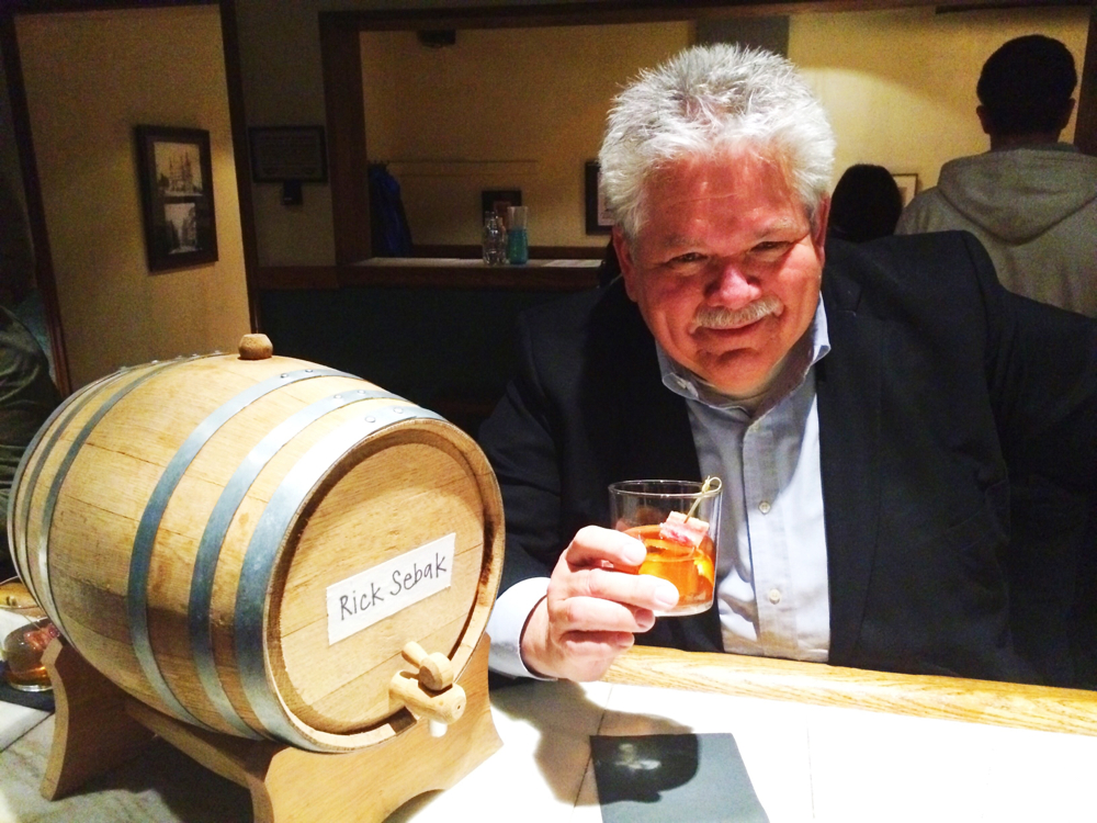 Rick Sebak at The Independent Brewing Company with a keg of his own cocktail.