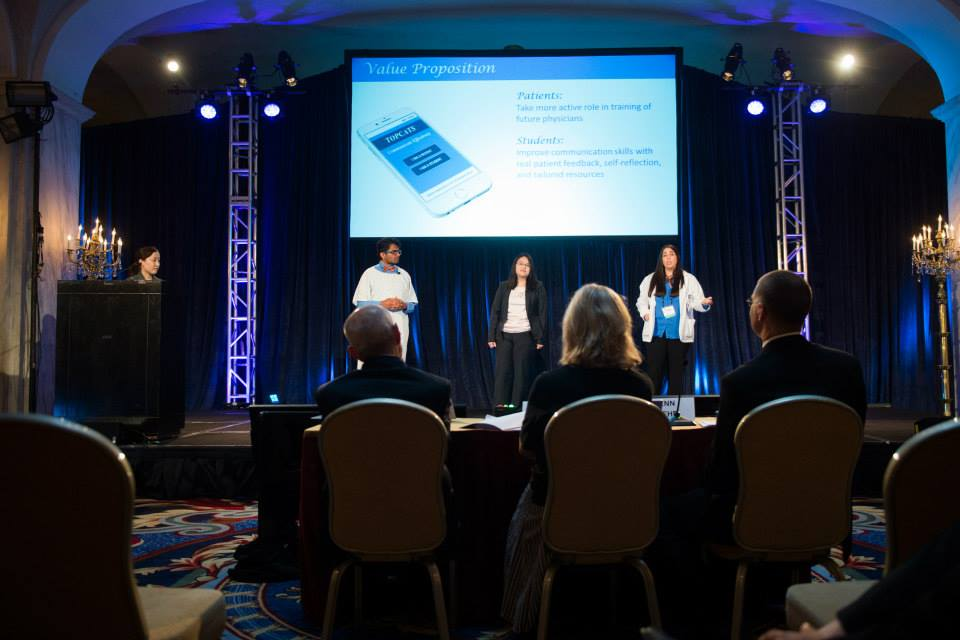 Devan Patel, Abby Koff, and Jennifer Hu presenting TOPCATS at the NBME Centennial Meeting. Image courtesy of TOPCATS.