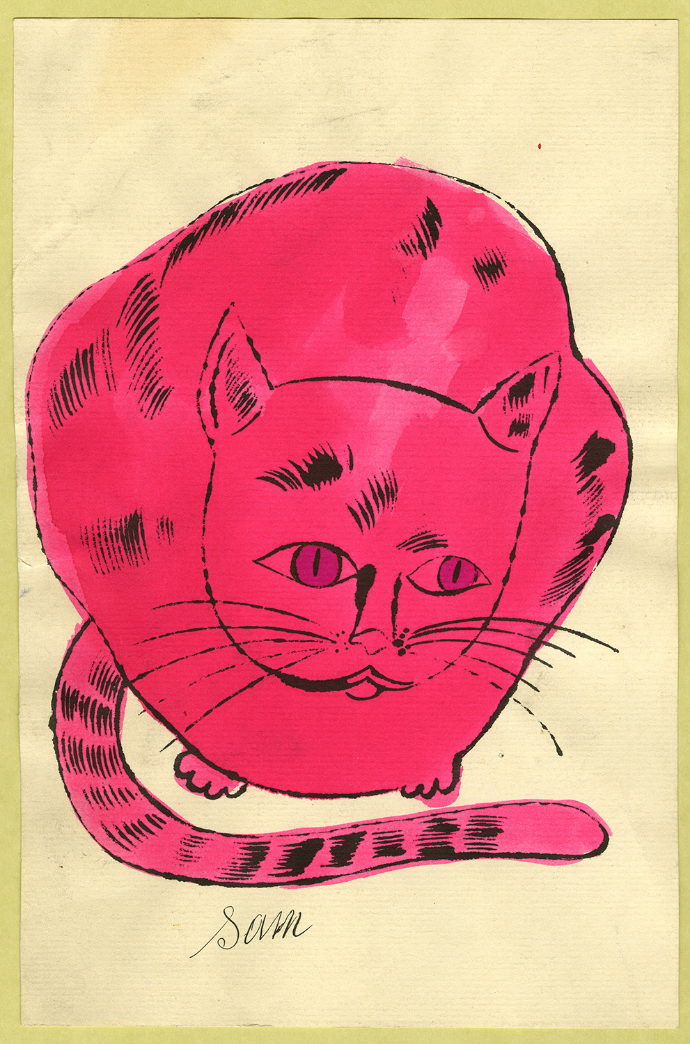 Andy Warhol, Illustration (from 25 Cats Name Sam and One Blue Pussy), ca. 1954, ©AWF, courtesy of The Andy Warhol Museum.