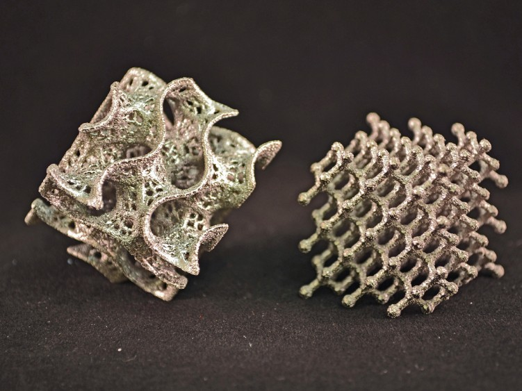 Metal objects produced by the Arcam 3D printer at Carnegie Mellon University
