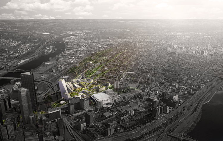 An aerial view of the proposed plan. Courtesy Bjarke Ingels Group.