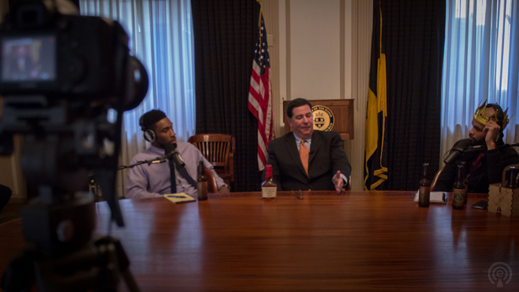 Ed Bailey, Bill Peduto and Day Bracey record the Drinking Partners podcast at the City County building.