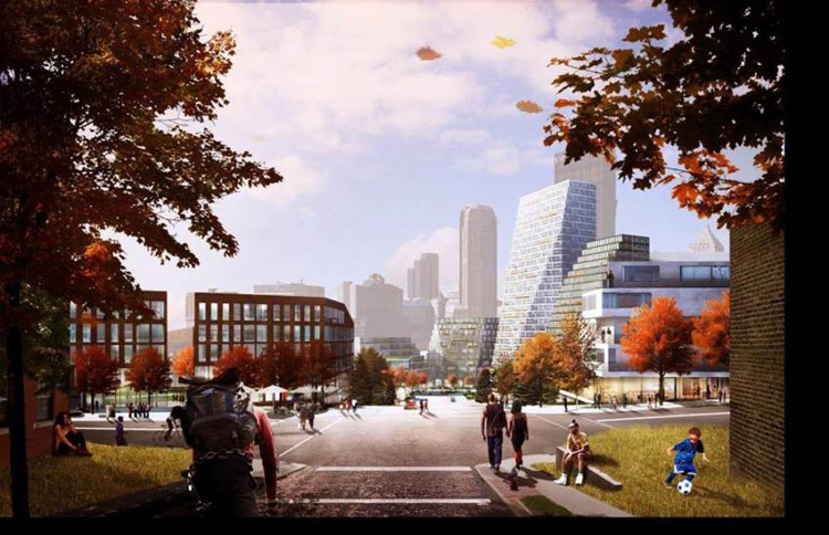 Wylie Avenue would be extended to connect with Downtown. Photo courtesy Bjarke Ingels Group