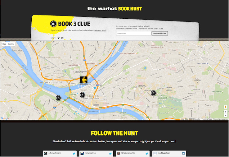 Using the interactive map, visitors can see where the books are hidden. Courtesy MARC USA.