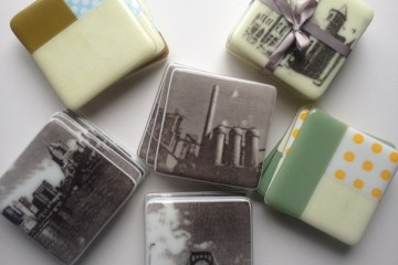 Fused glass coasters by Drew Kail.