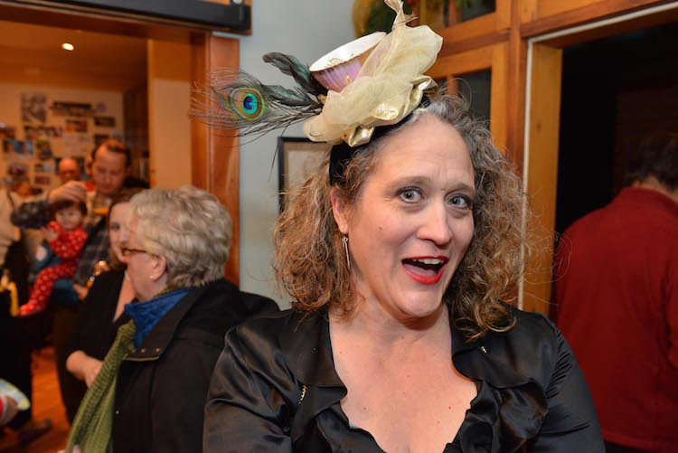 Kathryn Sitter won a prize for this creative hat. Photo by Nick Vargas of East End Studios.