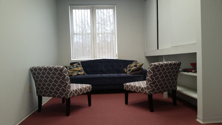 The lounge for private video conferences or client meetings. Photo by Emma Diehl.