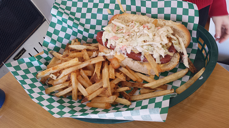 Feeney's Weenies Pittsburgh Dog, with fries, cheese and slaw, is a top seller. Photo by Kim Lyons.