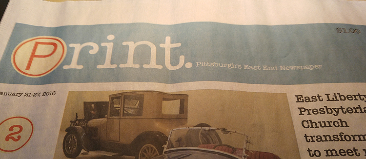 The hyperlocal Print newspaper. Photo by Kim Lyons.