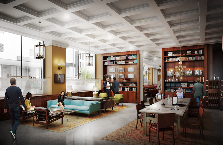 Rendering of the lobby in the Forbes Hotel planned for Wood St, downtown Pittsburgh.