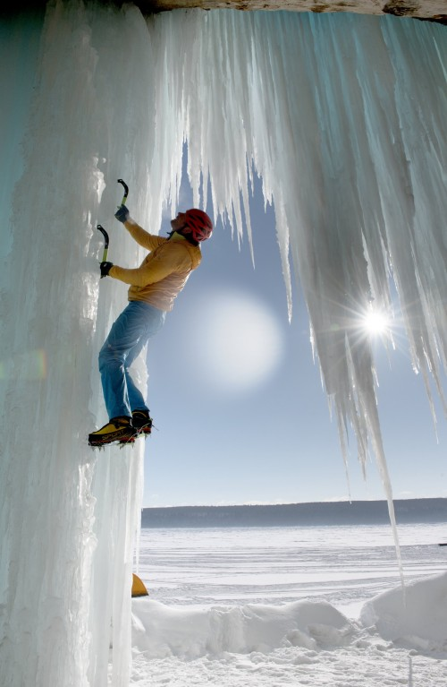 Ice climbing as seen in the new Omnimax film, National Parks Adventure. Photo: Carnegie Science Center.