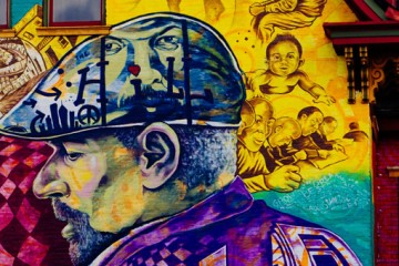 Mural of August Wilson in the Hill District by Kyle Holbrook. Photo by sarah huny young/1839