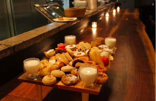 """The """"cookie table"""" at Spork. Made by Steel City Arts."""
