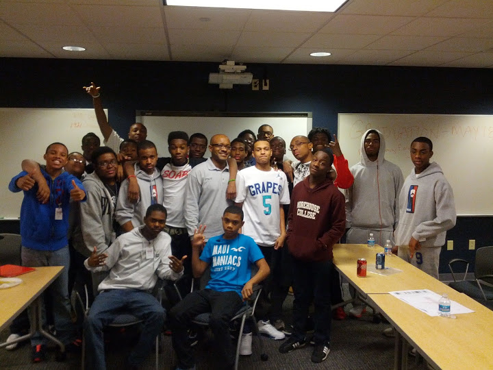Khalif with students from the Black Male Leadership Development Institute class of 2014-15, most of whom are off to college.