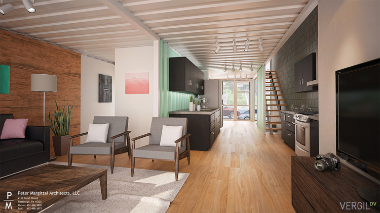 A rendering of the interior of one of K Bennett Group's cargo lofts in Lawrenceville