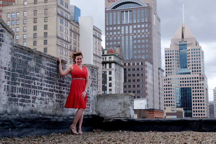 Racheallee Lacek on the rooftop deck of Lando Lofts. Photo by Brian Cohen.