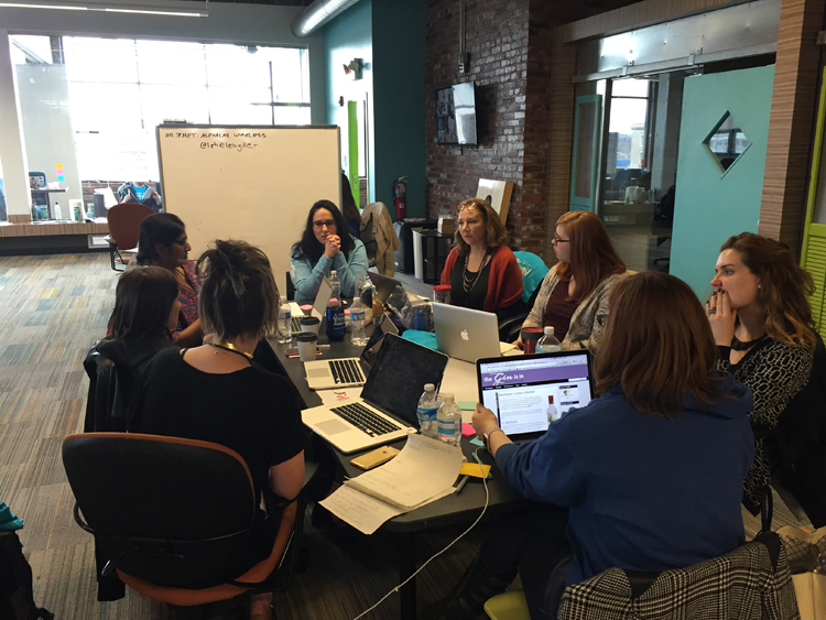 A team planning session at Startup Weekend Pittsburgh Women's edition.