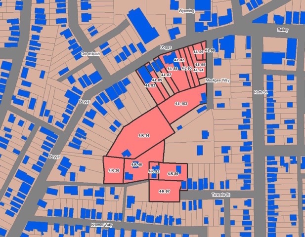 The Boggs Bailey parcel with building footprint.