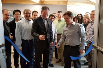 Ribbon-cutting ceremony for Autodesk at Bakery Square.