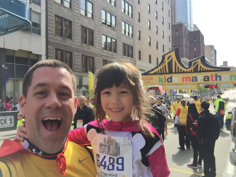 Gregg Behr with his daughter at the Pittsburgh Kids Marathon.