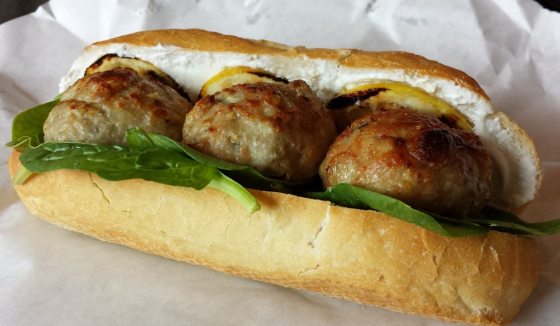 The chicken meatball sandwich at Thin Man Sandwich Shop.