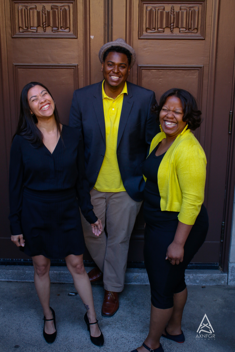 Shimira sharing a laugh with her Take Flight Pittsburgh team members, educator Alexis Garay and artist Greg Garay. Photo: J.E. Gamble for www.AxnFgr.com.