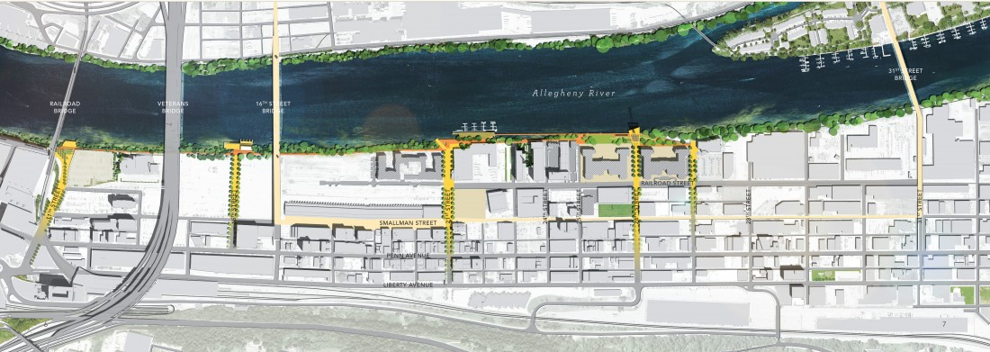 Map of Strip District Riverfront showing locations of public amenities. Image courtesy of Riverlife.