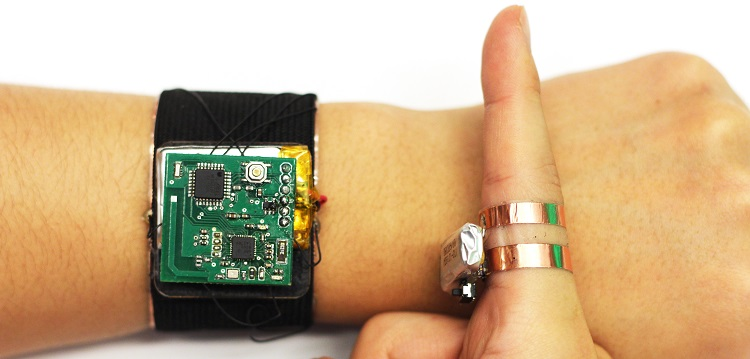 SkinTrack ring and smartwatch system. Image courtesy of FIG.