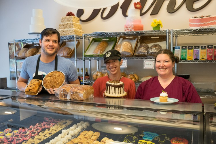 Staff at Grandview Bakery (Flip, Mandy, and Brandi). BC photo.