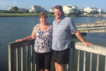 Sue and her husband Bud on vacation in Sunset Beach, NC.