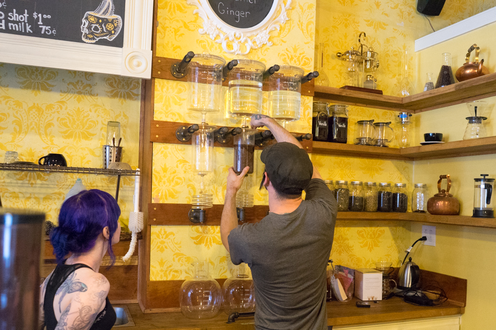 Making cold brew at Artisan Cafe. Brian Conway photo.
