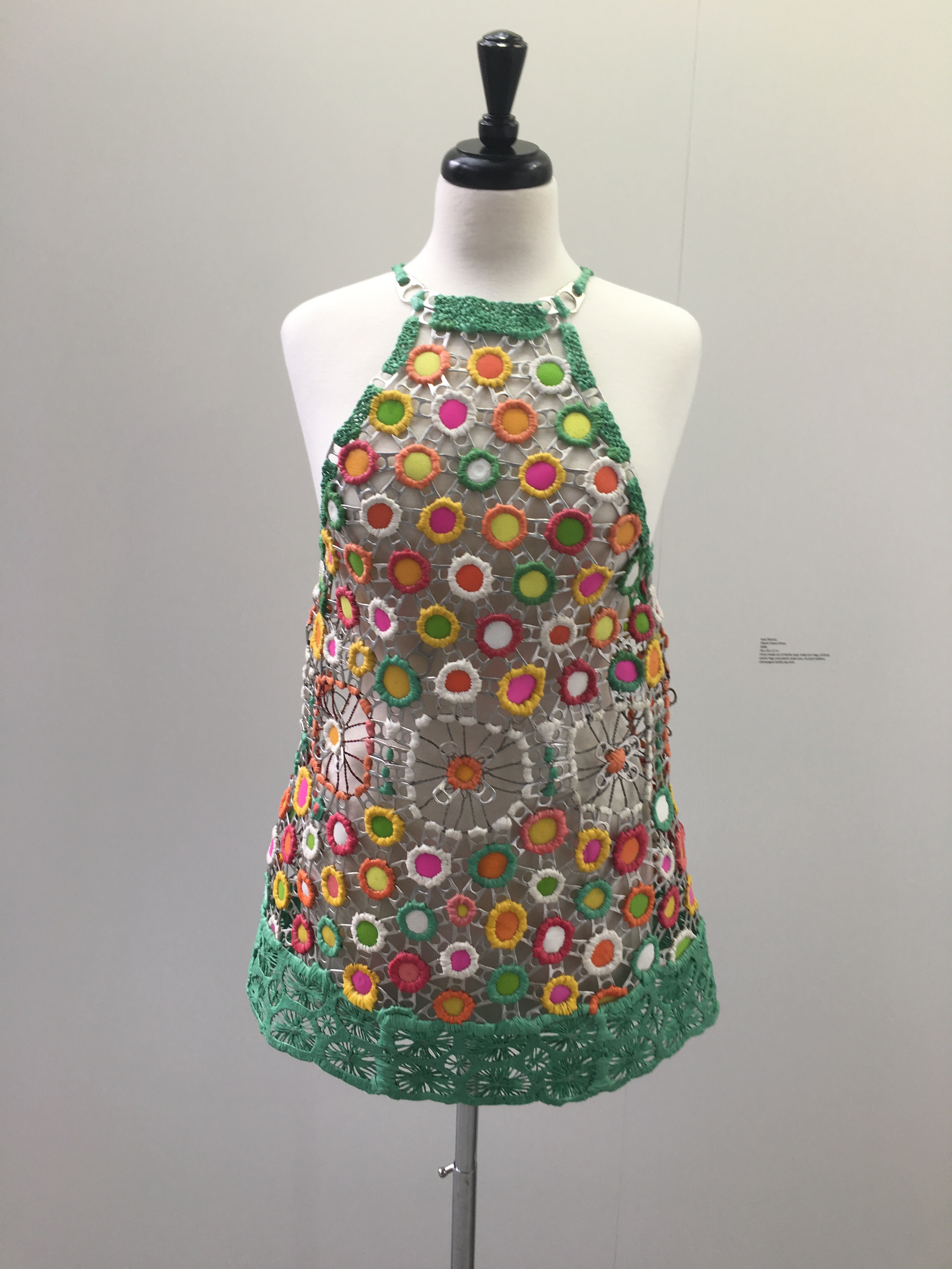 plastic power dress 2008 made of bottle caps soda can rings knitted plastic bags and soda cans six pack holders champagne bottle cap wire bottle cap furniture