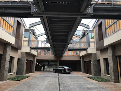 The courtyard of 2500 Smallman features hand-stamped concrete and stone elements.
