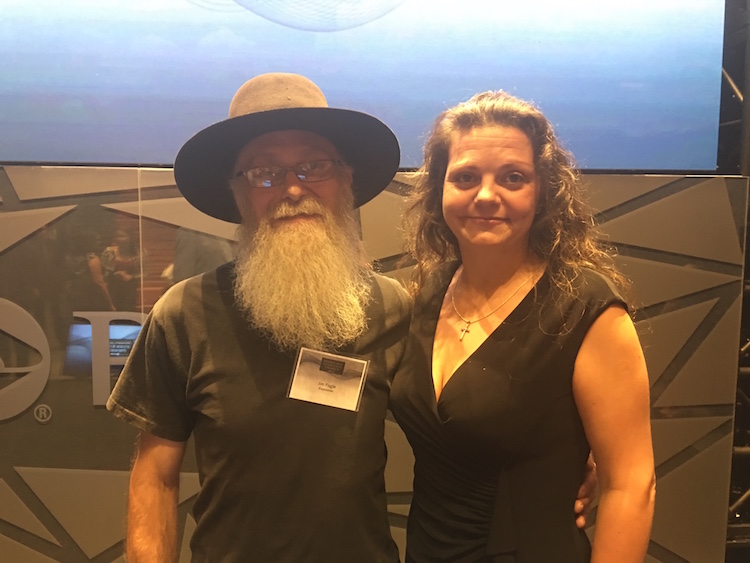 Jim Fogle, wrongly incarcerated for 34 years, with Crystal Weimer, wrongly incarcerated for 11 years at the launch reception for the Pennsylvania Innocence Project. Photo by Tracy Certo.