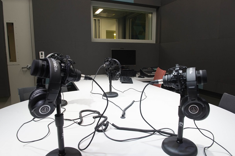 Radio studio at the Center for Media Innovation. Image courtesy of Point Park University.