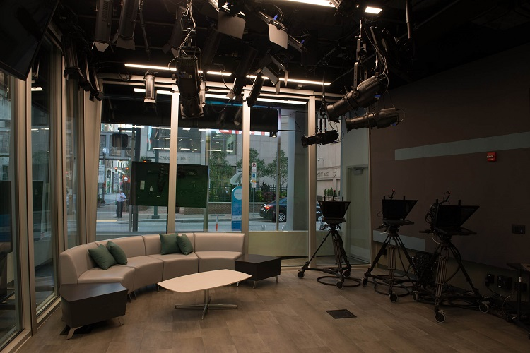 TV studio at the Center for Media Innovation. Image courtesy of Point Park University.
