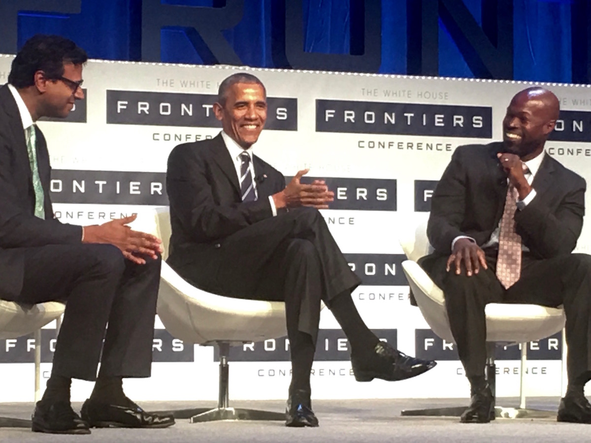 President Obama on the last panel of the White House Frontiers Conference with Atul Gawande, left, and Kafui Dzirasa, a neuroengineer. Photo by Tracy Certo.