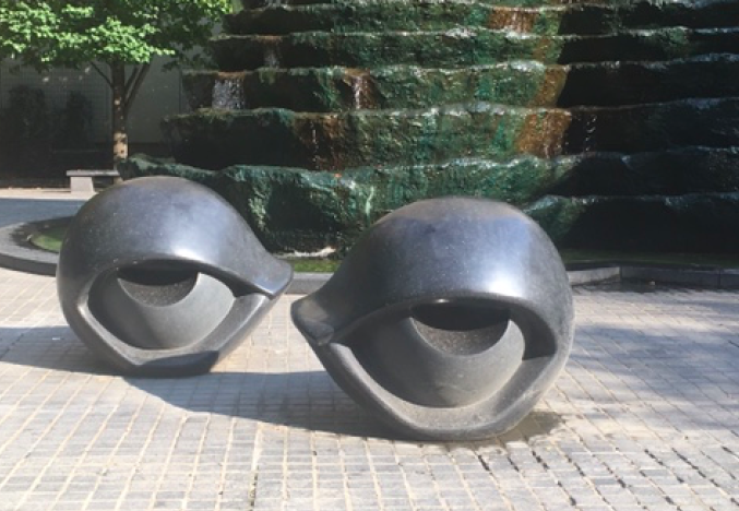 "The ""eyes"" at Katz Plaza. Photo by TH Carlisle"