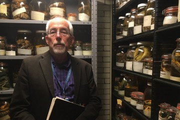 Stephen Tonsor in the Carnegie Museum of Natural History's Alcohol House. Photo by Amanda Waltz.