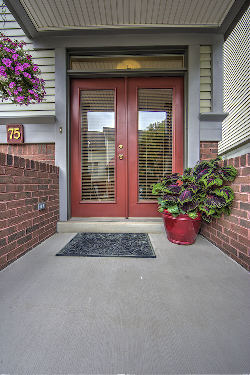 The entry of 75 Waterfront Drive, part of the village of townhouses on Washington's Landing.