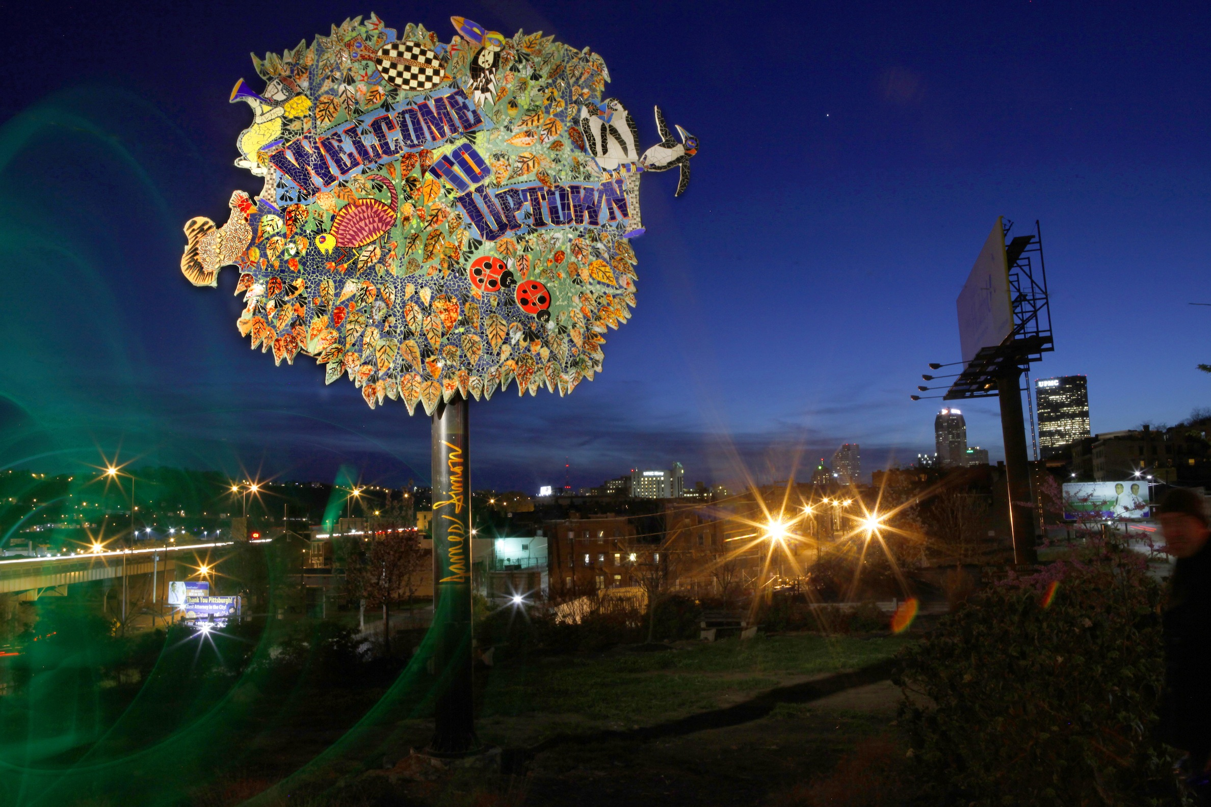 Uptown Welcome sign by James Simon. Photo by Heather Mull.