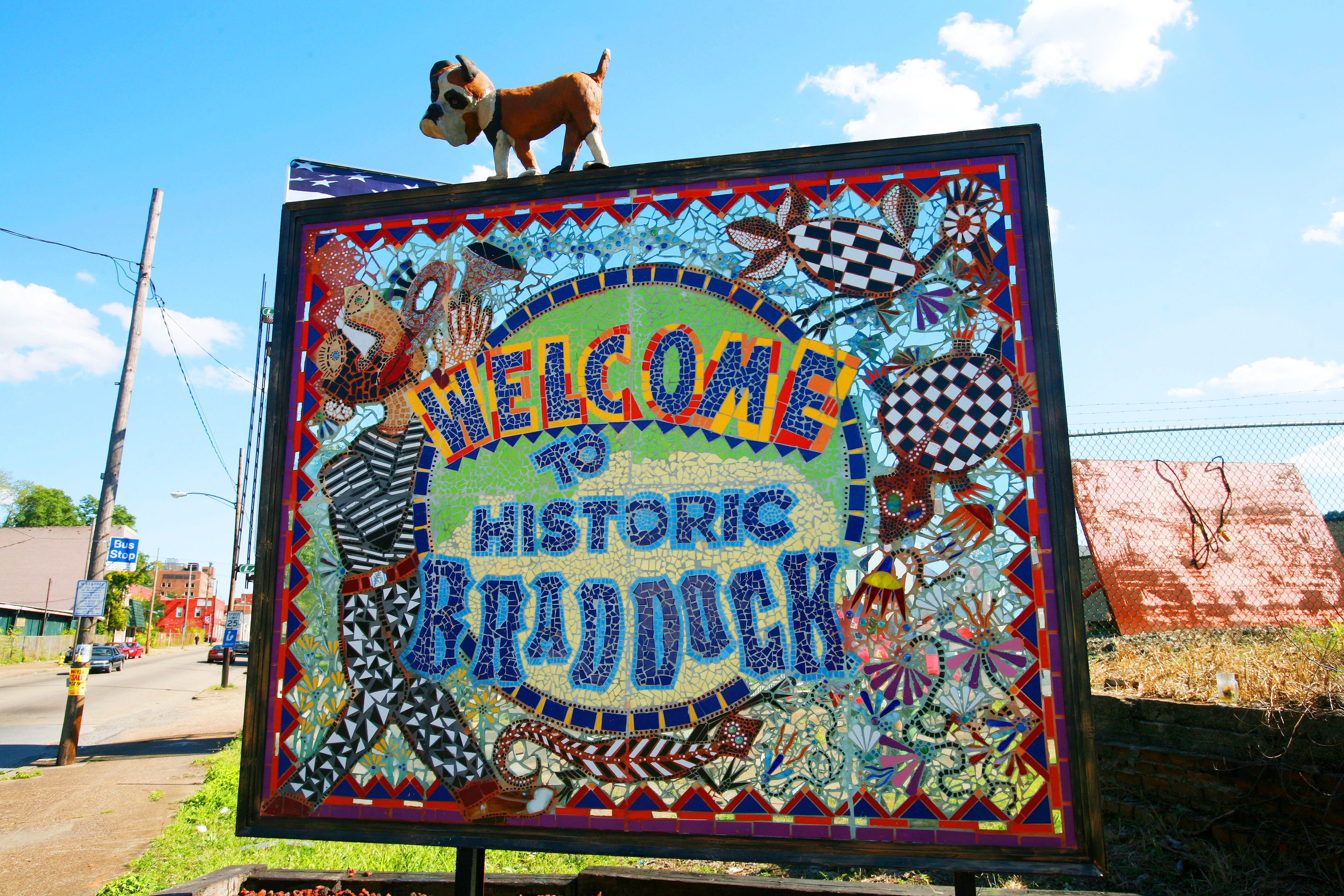 Braddock Welcome sign by James Simon. Photo by Heather Mull.