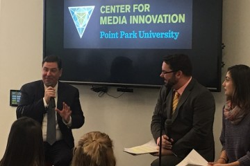 Mayor Bill Peduto (left) discusses Trump at Point Park University. Photo by TH Carlisle.
