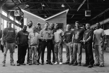 Zero Six Eight founder Daniel Bull (sixth from left) with the men of Work Pittsburgh. Photo courtesy of GBA.